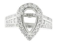 1.15Ct Round Diamond Pear Shape Semi-Mount Halo Engagement Ring 10K Gold