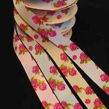 Bertie's Bows 25mm Bright Budding Roses Print Grosgrain Craft Ribbon