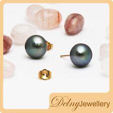 Brand New 14K YellowGold Black Freshwater Pearl Stud Earring Gift Souvenir Delny