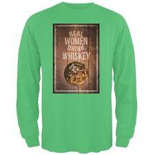 St. Patricks Day -Real Women Drink Whiskey Irish Green Adult Long Sleeve T-Shirt