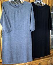 Land's End Gray Black 100% MERINO Wool Tank Straight Dress Knee-Length L XL NWT