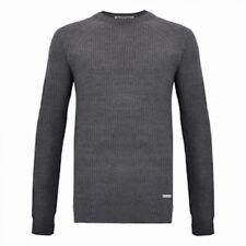 Lambretta Rib Knit Jumper Fishermans Knitwear Charcoal Grey in Sale £30.00