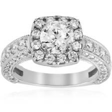 2 1/2ct Vintage Cushion Halo Diamond Engagement Ring Pave White Gold Enhanced