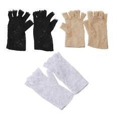 Ladies Fingerless Gloves Black Stretch lace Gloves Wedding Fancy Dress N7