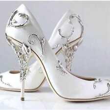 Womens High Heel Metal Decor Pointed Toe Shoes Wedding Nightclub Stilettos Heels
