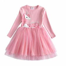 NEW Girls Unicorn Pink Long Sleeve Tutu Dress 3-4 6-7 7-8