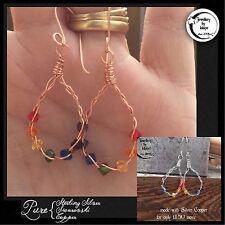 WireWrapped Silver Copper Chakra Celtic Weave Earrings with 14 Swarovski Element