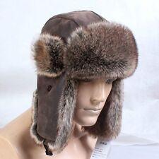 Men Aviator Trapper Hat Cap Flying Fur Winter Ski Ushanka Beanie Faux Leather