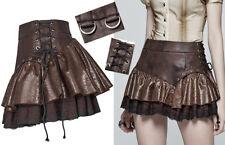Mini jupe steampunk gothique punk lolita volants cuir dentelle laçage PunkRave C