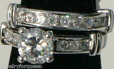 Wedding Ring set 18K Gold Gp 2pcs 2 ctw Cz Cubic Zirconia Bridal Engagement Band