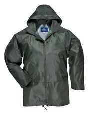 Portwest PIOGGIA IMPERMEABILE SOPRA cappotto giacca verde oliva S - 4XL MOTO