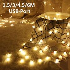 Wedding Party Lamp Christmas LED String Fairy Lights USB Port Round Ball Bulbs