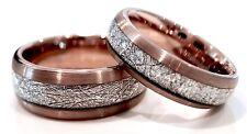 Rose Gold Brushed Meteorite inlay Ring, Tungsten Bands, Matching Rings  6mm- 8mm
