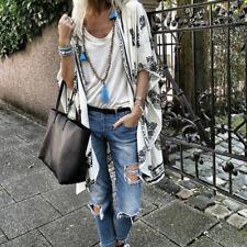Fashion Women Stylish 3/4 Sleeve Floral Chiffon Casual Kimono Cardigan Capes LH