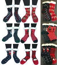 2 Pairs Women Winter Thick Sherpa Lined Thermal Christmas Slipper Socks Non Slip