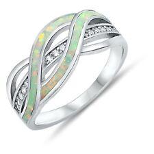 Blanco Ópalo de Fuego Diamante Sintético Plata de Ley Infinity Anillo de Banda