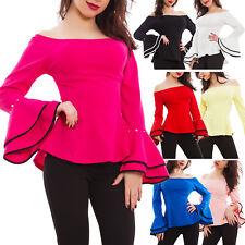Blusa donna maglia maniche campana bicolore scollo barchetta sexy nuovo AS-1736