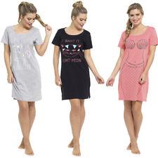 Ladies Short Sleeve Nightie Nightwear Print NightDress Night Tee