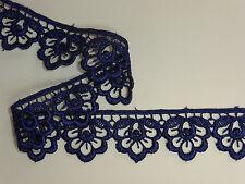 "The Place For Lace - Navy Blue Guipure Lace Trim 1""/2.5cm PER METRE Top Seller"