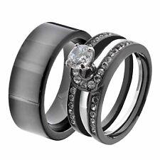 His & Hers Black Stainless Steel Round CZ Wedding Sets Tungsten Men Band KI