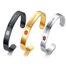 Stainless Steel Medical Alert Men Bracelet Bangle Cuff Engraved TYPE 2 DIABETES