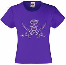 Skull & Sword Rhinestone/Diamanté Embellished Halloween T Shirt Gift  for Girls
