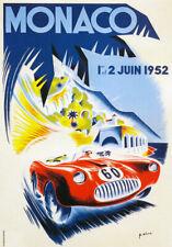 AV40 Vintage 1952 grand prix de monaco motor racing Poster imprimer A4