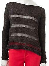 Rock & Republic Womens Sequin Striped Black Crop Sweater S/M