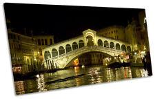 Venice Italy Rialto Bridge Picture PANORAMIC CANVAS WALL ART Print