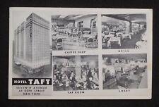 1940s Hotel Taft Interiors Seventh Avenue at 50th Street NYC NY Postcard