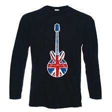 Union Jack Guitarra Manga Larga T-Shirt-Britpop Noel Gallagher Mod Target