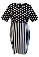 femmes mode rétro pois rayure noir et blanc robe
