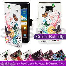 De Cuero Pu Flip Cartera Funda Para Samsung Galaxy S2 I9100 + Protector De Pantalla
