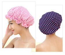 Women Polka Dot Printed Double Layer Hair Bath Waterproof Bathing Shower Cap 1PC