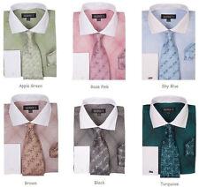 Men's Plaid / Checks Dress Shirt w/ Tie and Hanky Set French Cuff #624