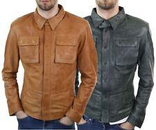 Mens Stud Shirt Real Leather Jacket Tan Grey Black Vintage Skinny Slim Fit Retro