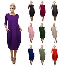Womens 3/4 Sleeve Round Neck Bubble Hem Midi Dress W/ Pockets