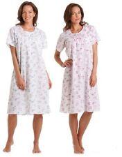 Donna Policotone Manica Corta Floreale Camicia Da Notte Rosa Blu 10-32
