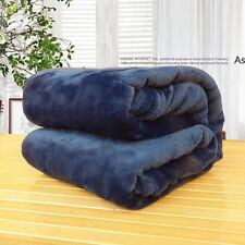 Super Soft Plush Mink Fleece Queen King Bed Sofa Throw Blanket 8 Solid Color