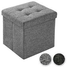 Taburete plegable cúbico caja de almacenaje asiento banco puff 38x38x38cm
