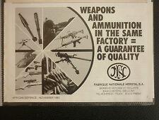11/1982 PUB FN HERSTAL SA ARMEMENT WEAPONS LIGHT ARMAMENT ORIGINAL MILITARY AD