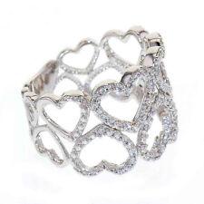 Sterling Silver CZ Open Heart Eternity Women Jewelry Wedding Engagement Ring