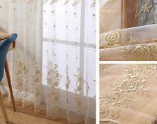"Elegant Embroidery Sheer Curtain Beige Tulle Room Voile Door Window Drape 63/84"""