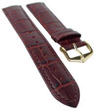HIRSCH DUKE L | Uhrenarmband italienisches Leder / Alligatorprägung / Weinrot 31