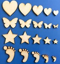 Formas de MDF de madera Corazones Estrellas Decoración De Mariposa empavesado Artesanía Adornos