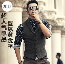 Mens British Retro Slim Woolen Tuxedo Dress Waistcoat Coats Woolen Vest Tie Suit