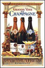 Grands Vins De Champagne French Vintage Poster Print Retro Style Decor Wine Art