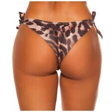 Sexy Brazilian Tanga Bikini Hose zum Binden in Leopard-Optik #BI740