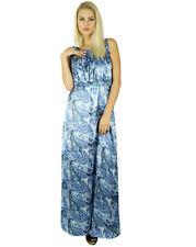Bimba Women Long Satin Maxi Smocked Waist Sleeveless Dress Boho Gown