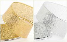 Gold/Silver 25m Decorative Lurex Ribbon 9mm 15mm 25mm Sewing Craft